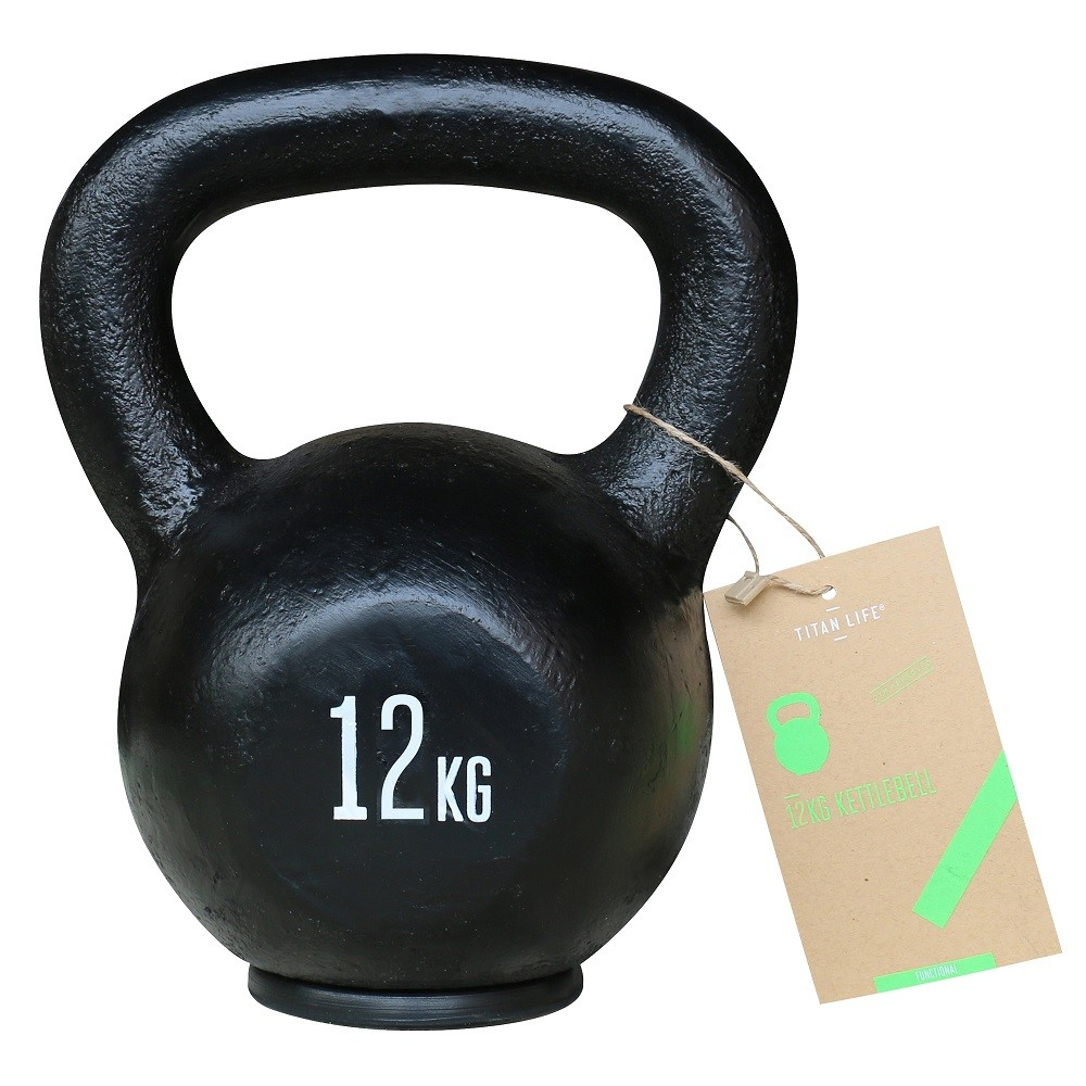 TITAN LIFE Kettlebell Cast Iron Black - 12 kg