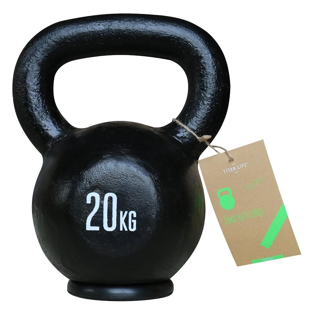 TITAN LIFE Kettlebell Cast Iron Black - 20 kg