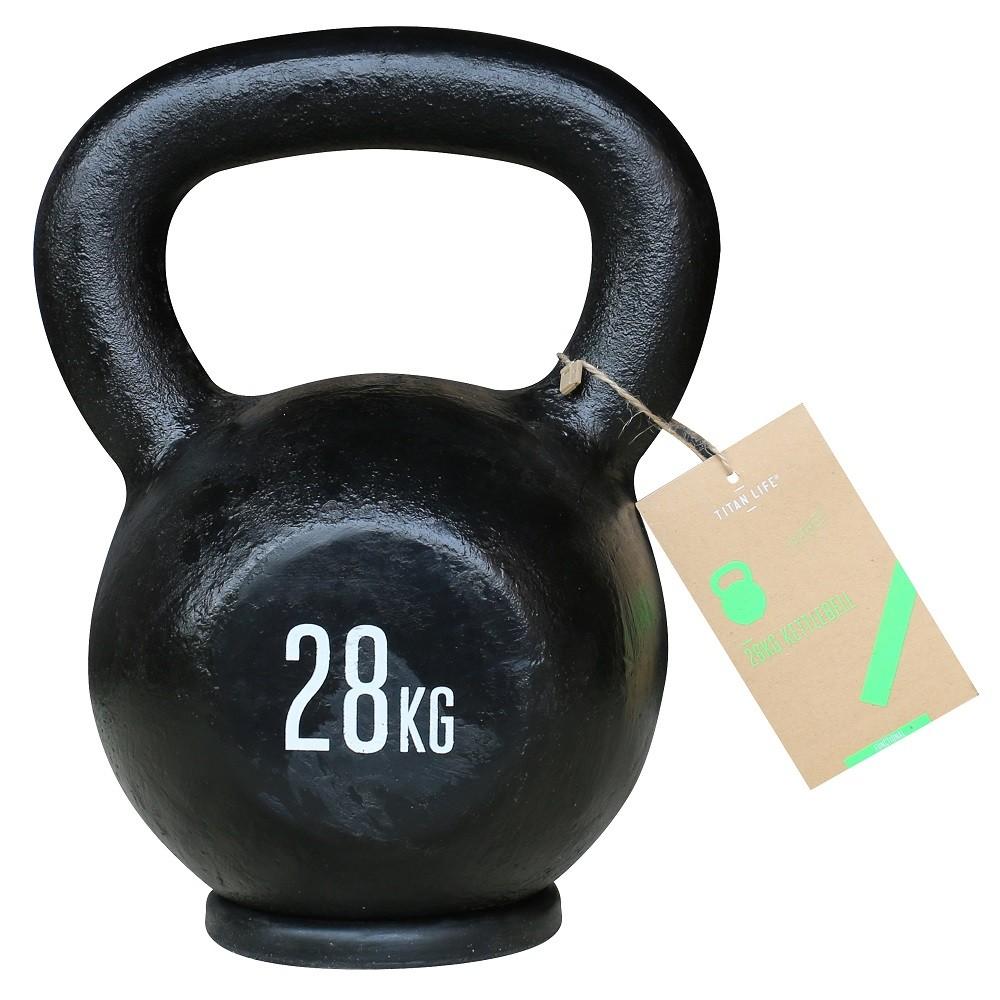 TITAN LIFE Kettlebell Cast Iron Black - 28 kg
