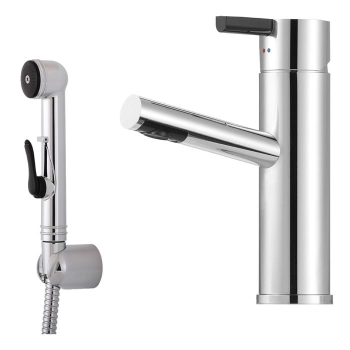 Mora Tvättställsblandare Rexx B5 Krom/Svart med handdusch