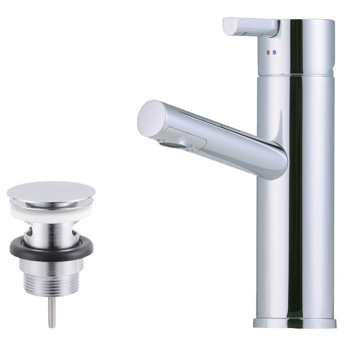 Mora Tvättställsblandare Rexx B5 Krom/Svart med push down-ventil
