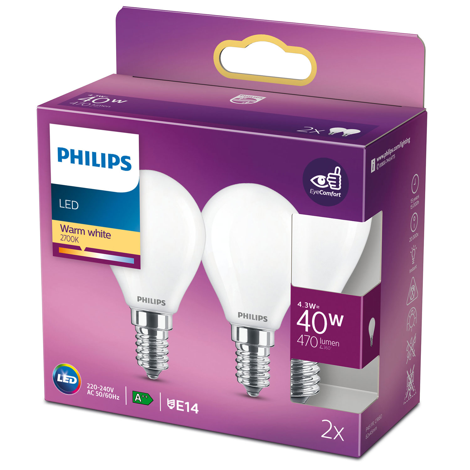 Philips 2-pack LED E14 Klot 40W Frost