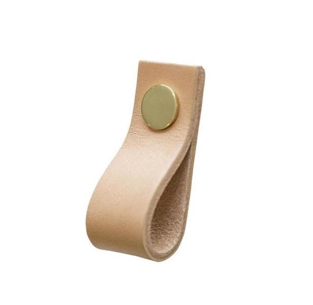 Linfalk Loop läder Längd 65mm natur-mässing 0155L-2101