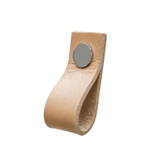Linfalk Loop läder Längd 65mm natur-blank krom 0155L-2109