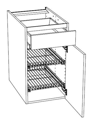 Ballingslöv Bänkskåp A4GSF med Låda och 2 Gallerhyllor med Kanter - 40 cm Höger