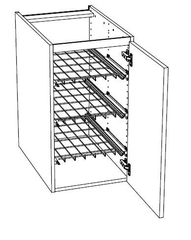 Ballingslöv Bänkskåp C3G med Lucka och 3 Gallerhyllor - 30 cm Höger