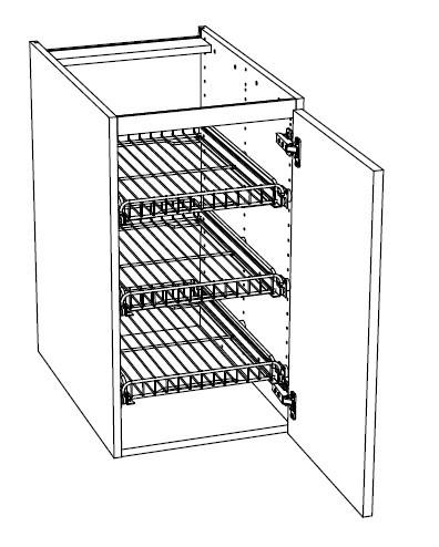 Ballingslöv Bänkskåp C4GSF med Lucka och 3 Gallerhyllor med Kanter - 40 cm Höger