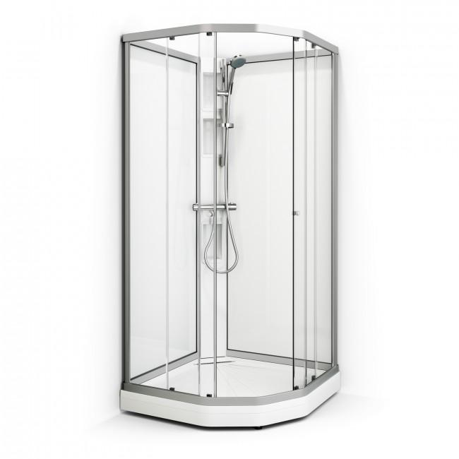 Macro Duschkabin Flow Semi Låg - Klarglas Låg 187 cm Matt 71 x 91 höger thumbnail